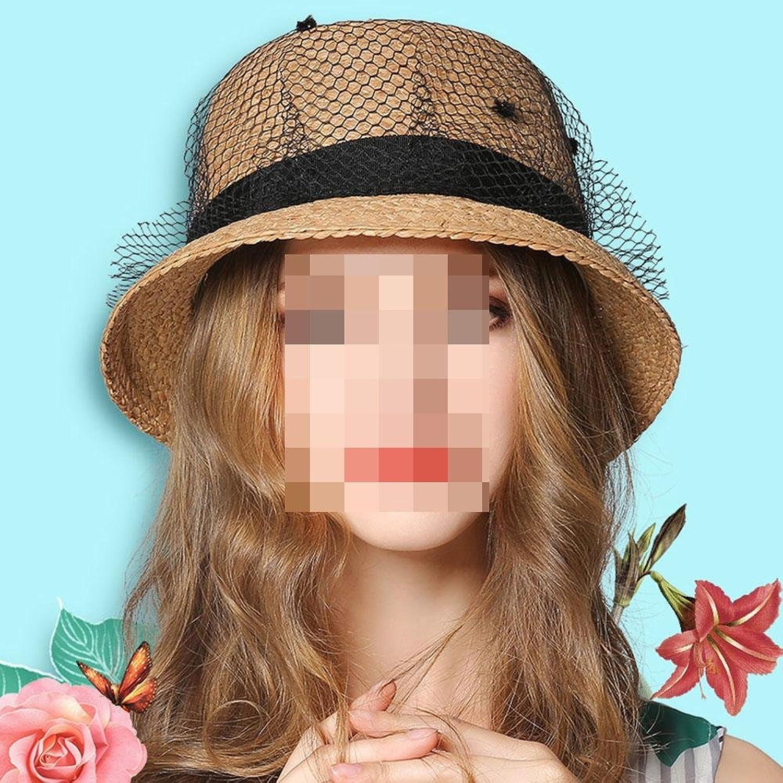 XUEXIN Woman summer round Straw Sun Hat, outdoor travel sunscreen sun hat