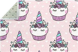 Tapis de sol antidérapant en forme de cupcake licorne rose pour décoration d'intérieur, salon, salle à manger et chambre à...