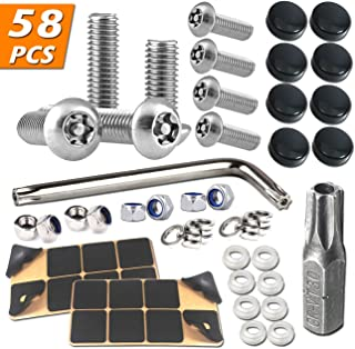 "BGGTMO Anti Theft License Plate Screws- 8 PCS Stainless Steel Plate Screws, 1/4""(M6) Security Machine Screws for Fastening License Plates, Frames and Covers on American Cars and Trucks"