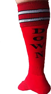 Red Down Down Shiggy Socks. ON ON Foot. Hash House Harriers. 2 stripe soccer style sock. Great for a Red Dress Run.