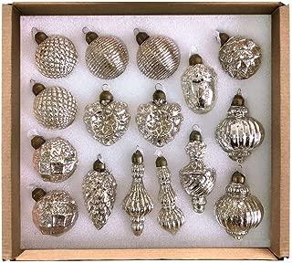 glasburg Mercury Silver Classic Christmas Glass Ornament (16 Ornaments)