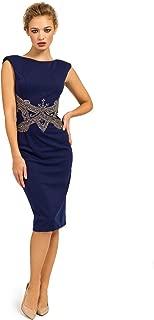 Women's Sleeveless Embellished Waist V Back Bodycon Dress, Navy Size 4