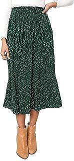 Women's High Elastic Waist Polka Dot Printed Pleated Midi Skirts with Pockets