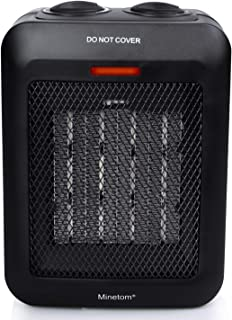 Minetom Portable Space Heater with Thermostat Ceramic Electric Heater for Indoor Use Office Home Floor Desktop Bedroom Room 1500W/750W