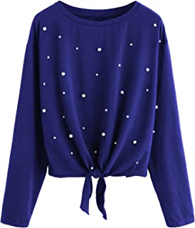 Romwe Women's Long Sleeve Tie Front Knot Casual Loose Fit Tee T-Shirt