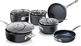 GRANITESTONE Stackmaster 10 Piece Induction-compatible, Nonstick Cookware Set, Scratch-Resistant, Granite-coated Anodized Aluminum, Dishwasher-Safe, PFOA-Free As Seen On TV