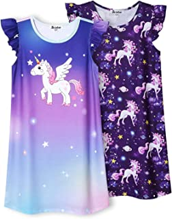 Jxstar 2-Pack Nightgown for Girls Flutter Sleeve Pajamas Cotton Night Dresses