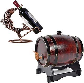 Tonneau à vin en bois de chêne avec support, Distributeur de fûts de vin en bois naturel, pour la bière Whiskey Rum Port K...