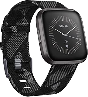 "CAVN Woven Bands Compatible with Fitbit Versa 2 / Versa/Versa Lite, Fabric Bands for Women Men Breathable Strap Bracelet Wristband Band (Small (5.5""-7.5""), Black&White)"