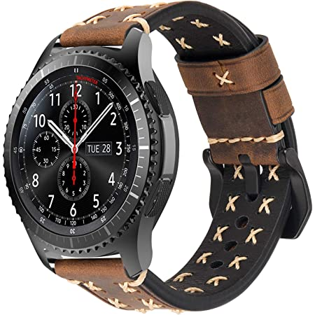 iBazal Bracelet Gear S3 Frontier Classic Cuir Bandes Montre 22mm Compatible avec Samsung Galaxy Watch 3 45mm/Galaxy 46mm SM-R805/800 Remplacement pour Huawei GT/2 Classic,TicWatch Pro Band - Café