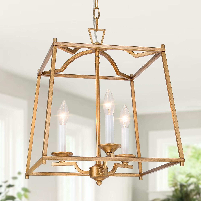 KSANA Gold Pendant Light Fixtures, Large Lantern Chandelier, Foyer Pendant  Lighting for Kitchen Island, Hallway and Entryway, 9.9