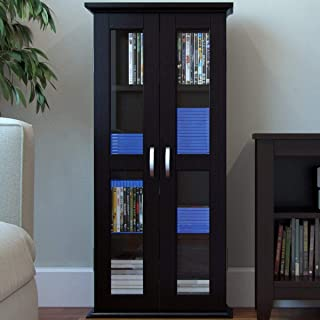 "Ryan Rove Kirkwell 41"" Wood Bookcase Multimedia Organizer Shelf DVD Media Storage Tower with Doors in Black"