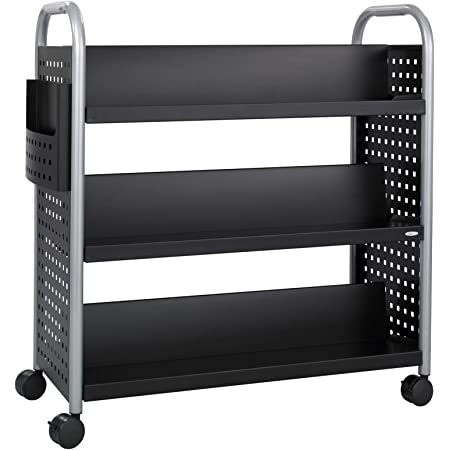 Safco Products Scoot Double Sided Book Cart Black Swivel Wheels 6 Slanted Shelves Furniture Decor
