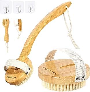 Shower Brush, Moduskye Back Brush with Long Curved Detachable Handle, Bath Body Brush Back Scrubber for Wet Dry Brushing Skin Exfoliating Soft Stiff Bristle Face Brush Wall Hooks Set (Premium Bamboo)