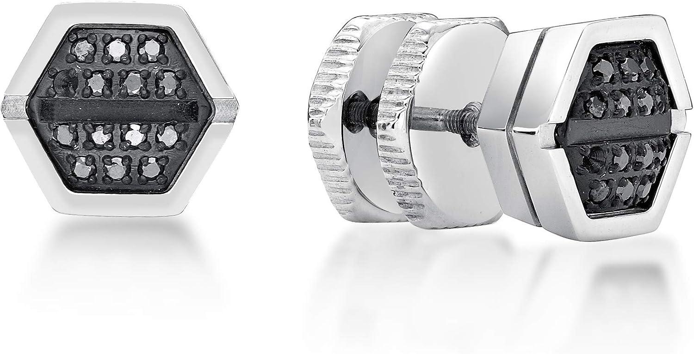 Men's Round Diamond Stainless Steel Stud Hexagon Earrings - 9 MM