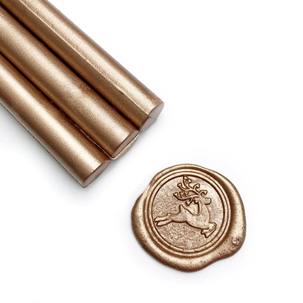 UNIQOOO Mailable Glue Gun Sealing Wax Sticks for Wax Seal Stamp - Metallic Champagne Gold, Great for Wedding Invitations, Cards Envelopes, Snail Mails, Wine Packages, Gift Ideas, Pack of 8