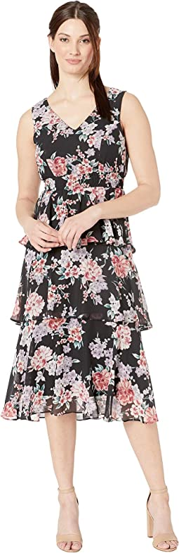Printed HMC V-Neck Tier Midi Dress w/ Smocking at Waist
