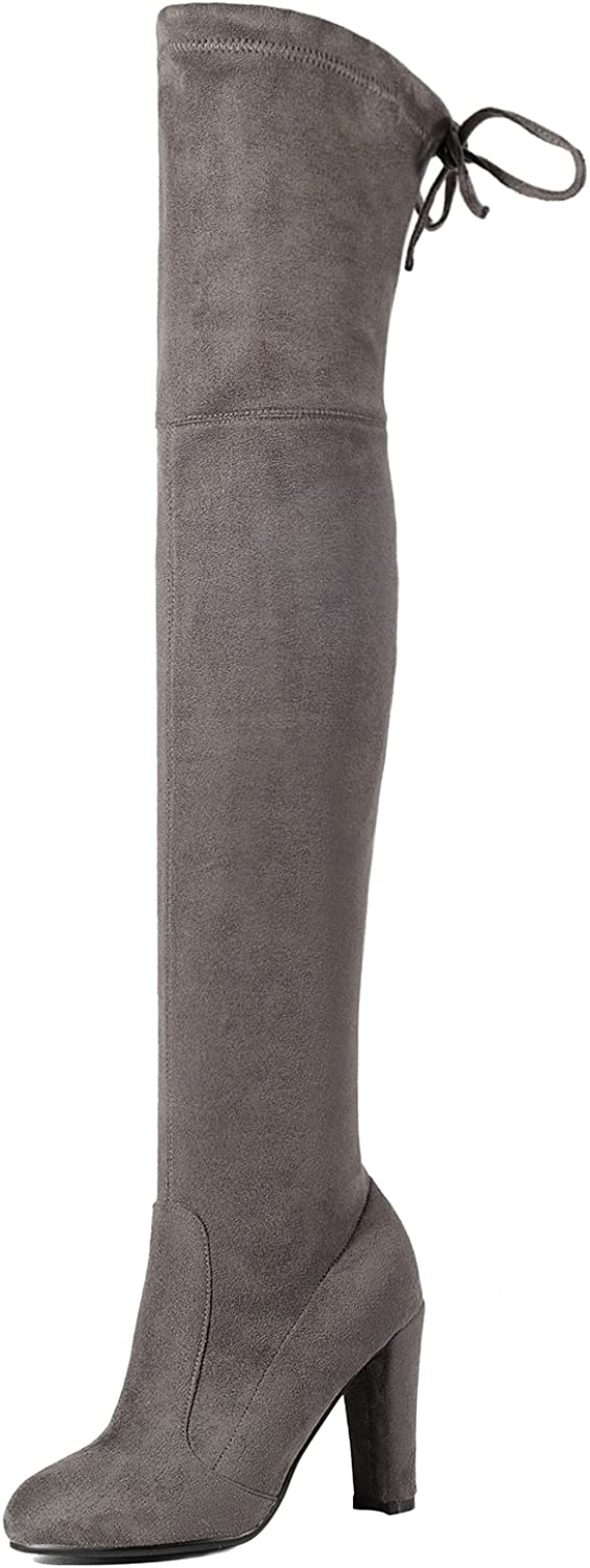 CHENSIR9 Women Stretch Faux Suede Thigh High Boots Sexy Over The Knee Boots High Heels Woman shoes