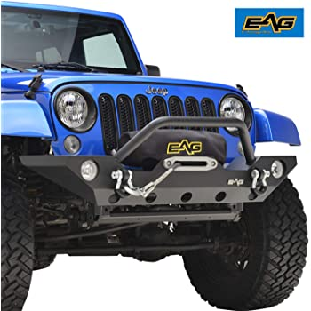 EAG Front Bumper with Winch Plate and Fog Light Housing for 07-18 Jeep Wrangler JK Rock Crawler
