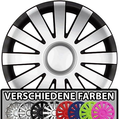 Eight Tec Handelsagentur Farbe Größe Wählbar 16 Zoll Radkappen Agat Schwarz Silber Matt Passend Für Fast Alle Fahrzeugtypen Universal Auto