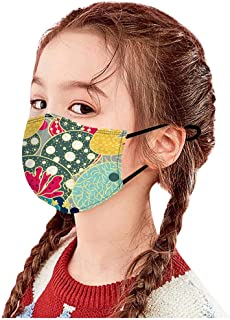 Padaleks Children Cotton Face_Mask_Cover Reusable Washable Christmas Print Party Dust Protetion Face Bandana for Kids