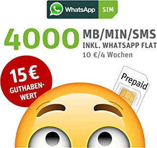 WhatsApp SIM Prepaid [SIM, Micro-SIM, nano-SIM] – startpakket met 15 EUR tegoedwaarde, zonder contractbinding, optie met 4...