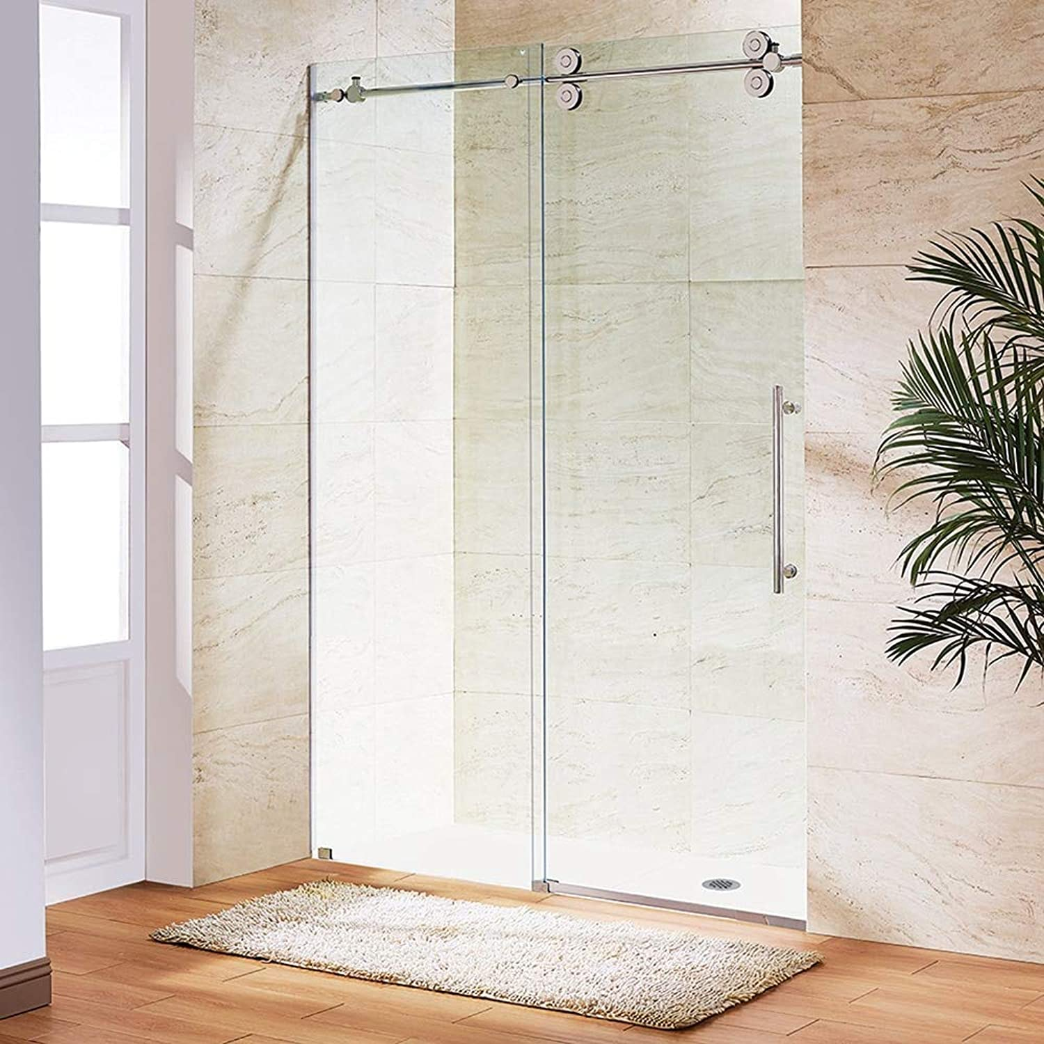 Frameless Glass Sliding Shower Door Stainless Steel 69mm Roller Shower Enclosure Kit Mirror Finish  (Length  2m)