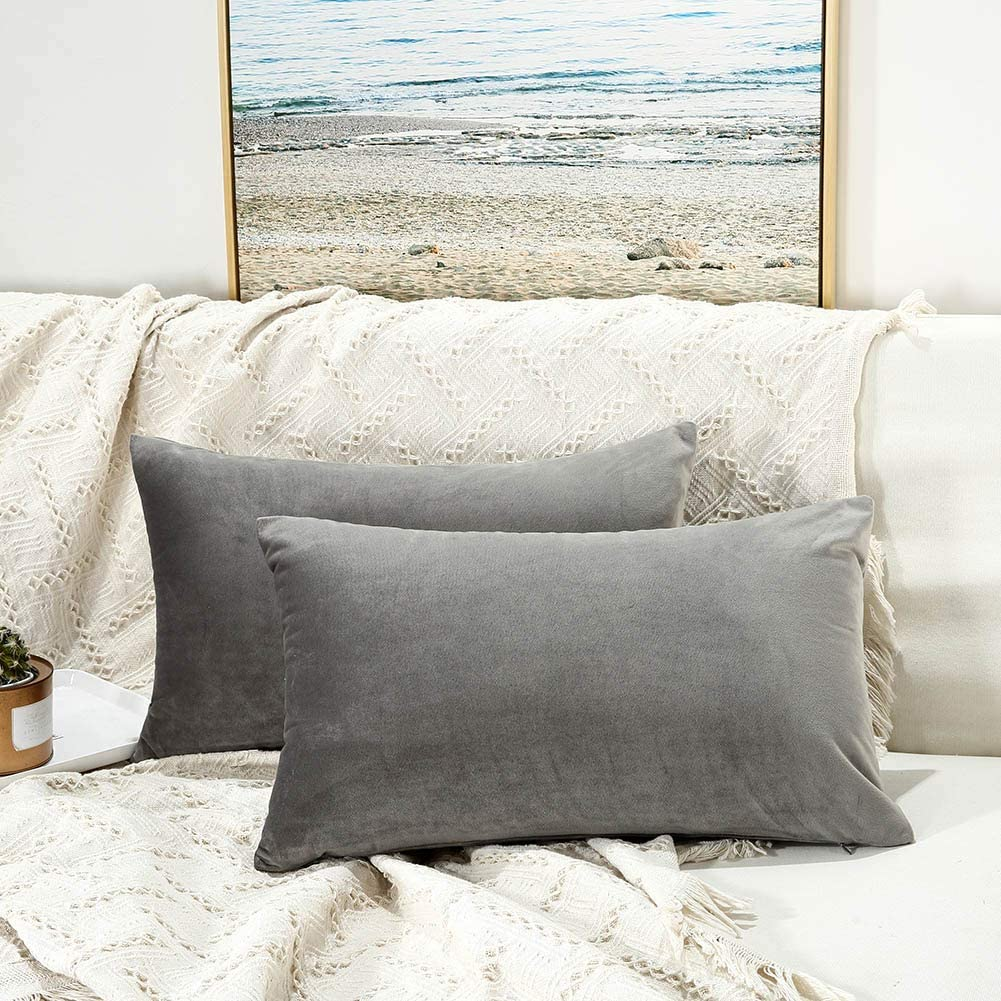 JUSPURBET Grey Decorative Velvet Throw Pack Pillow Cheap mail order specialty store Indianapolis Mall 16x24 Covers