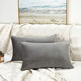 JUSPURBET Velvet Pillow Covers 16x24 Inches,Pack of 2 Throw Pillow Covers for Sofa Couch Bed,Decorative Super Soft Throw Pillow Cases,Grey
