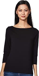 Amazon Brand - Symbol Women's Solid Slim Fit 3/4 Sleeves cotton Top