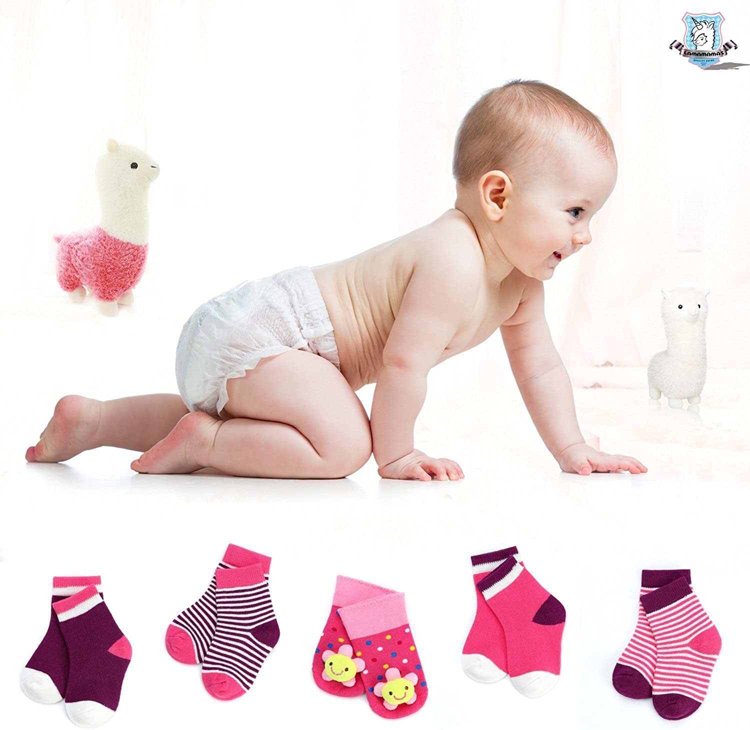 LAMAMAMAS Baby Toddler Socks Boys Girls Non Slip with Grip Cartoon 5 Pairs for 0-6 months