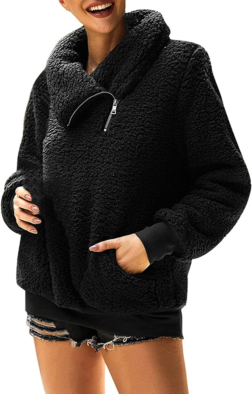 Aritone Fashion Jacket Coat Womens Warm Faux Coat Jacket Winter Warm Zipper Solid Long Sleeve Sweatshirt