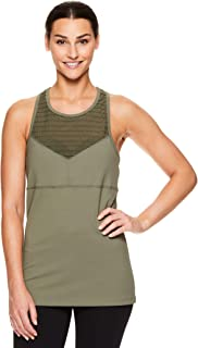 gaiam Women's Willa Racerback Tank Top with Built in Medium Impact Wireless Bra