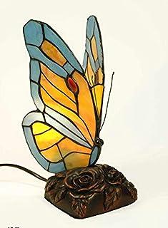 CAPRILO. Lámpara de Sobremesa Decorativa de Resina y Cristal Tiffany Mariposa. Figuras y Esculturas. Iluminación. Regalos ...