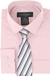 a4244505e Luca Gabriel Toddler Boy's Long Sleeve Formal Button Down Dress Shirt & Tie  Set