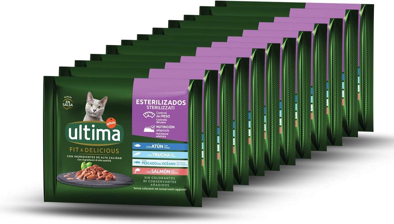 PRODUCTO DE DONACIÓN - Ultima Comida Húmeda para Gatos con Variedad de Pescados - 12 x (4 x 85gr) - 4080g