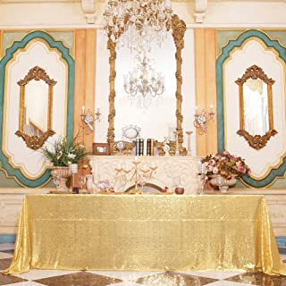 """Juya Delight 60"""" x 102"""" New Gold Rectangle Sequin Tablecloth for Party Dinner Banquet Festival Wedding Anniversary Exhibition Dessert Table"""
