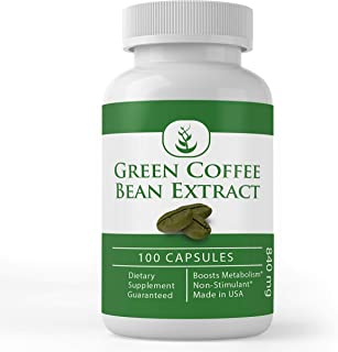 Sponsored Ad - Green Coffee Bean Extract, 100 Capsules, 840 mg Servings, 50% Chlorogenic Acid, Non-Stimulant, Lab-Tested &...