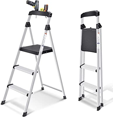Toolf 3 Step Ladder,Light Weight Aluminum Step Stool with Project Top, Wide Anti-Slip Pedal Ladder, 200LBs Capacity