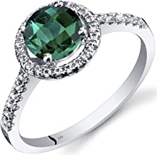 Peora 14K White Gold Created Emerald Halo Ring Round Checkerboard Cut 1.00 Carats Sizes 5 to 9