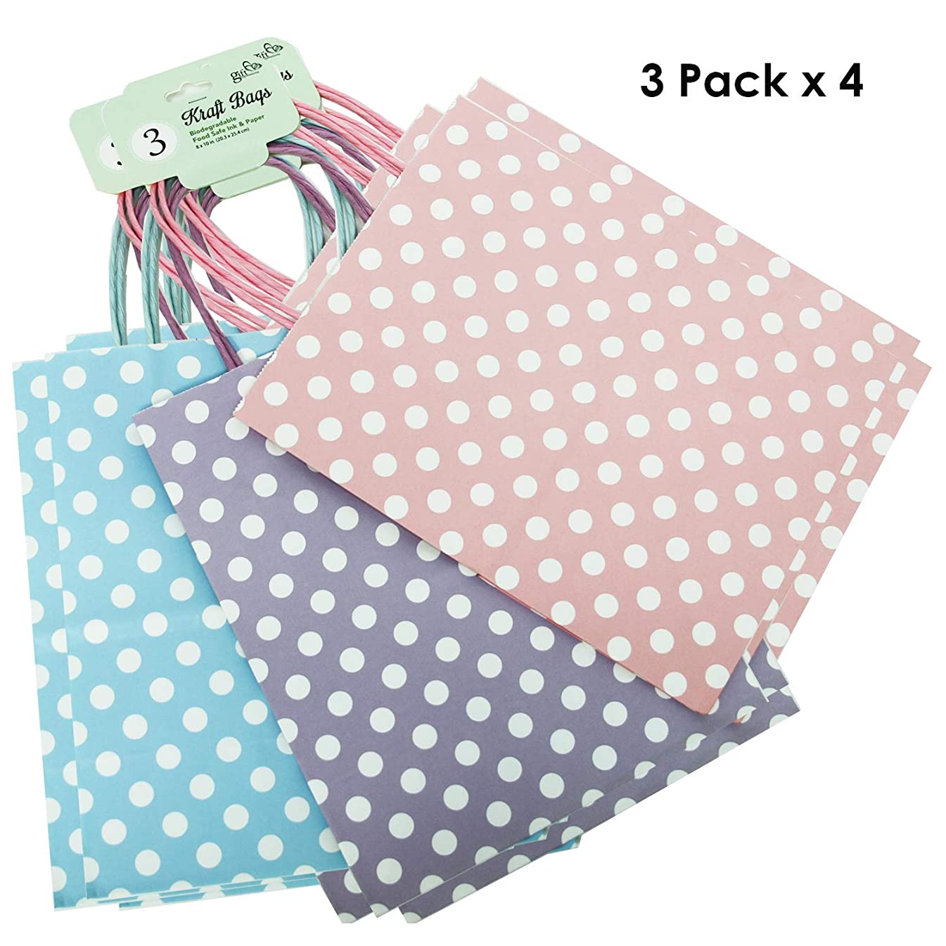 12CT Medium Pastel(3 Color x 4) Polka DOT Biodegradable, Food Safe Ink & Paper, Premium Quality Paper (Sturdy & Thicker), Kraft Bag with Colored Sturdy Handle (Polka Dot Medium, Pastel 3 Color)