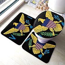 Jxrodekz USA Flag Virgin Islands Bathroom Accessories Bathroom Rug Mat Set 3 Piece,Non-Slip Bath Mat Pedestal Rug+ U Shaped Contour Mat + Lid Toilet Cover Pad (40x60cm)