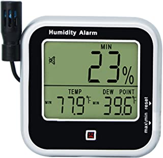 Digital Indoor or Outdoor Hygrometer and Thermometer Thermo-Hygrometer, Dew Point Humidity Alarm 14~140°F Temperature Moni...
