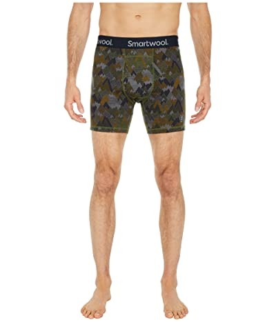 Smartwool Merino 150 Print Boxer Brief Boxed (Military Olive Mountains For Days Print) Men