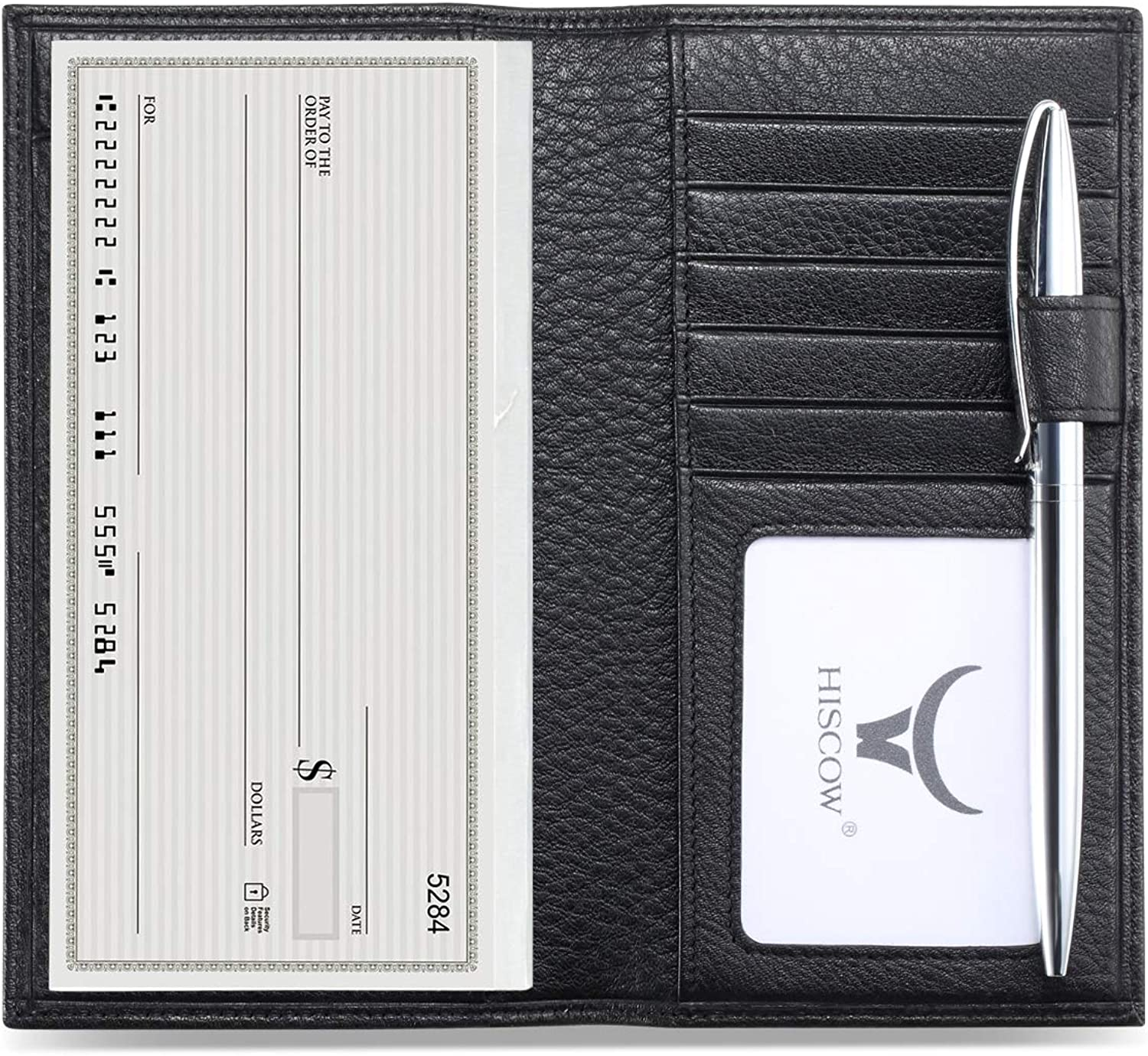 HISCOW Soft Leather Checkbook Cover & Card Holder with Divider  Italian Calfskin