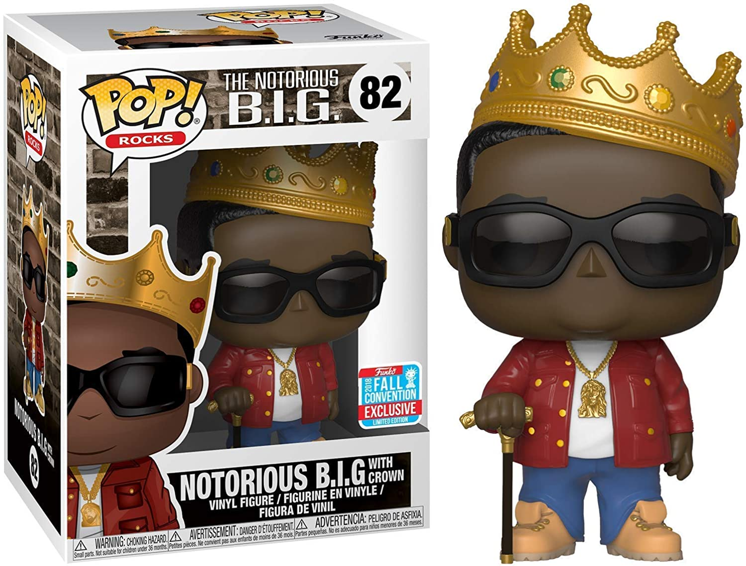 Funko Pop  Rocks  The Notorious B.I.G.  Notorious B.I.G. with Crown (Limited NYCC 2018 Exclusive)  82
