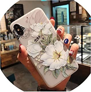 2019 Fashion Emboss White Pink Flowers Case for iPhone 6S 7 8 6S Plus 7Plus 8Plus X XS MAX XR TPU Soft Case for iPhone X 7 Cover,White Flowers,for iPhone XR