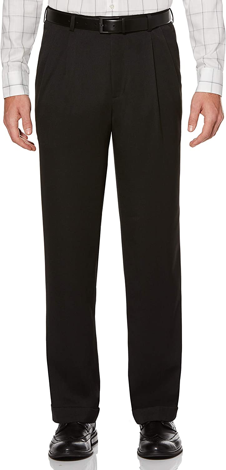 Perry Ellis Men's Classic Fit Double Pleated Cuffed Pant