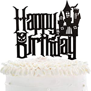 Halloween Happy Birthday Cake Topper - Spooky Haunted House Black Glitter Cake Supplies - Cartoon Kids Birthday Party Friday The 13th Party Cake Derocation
