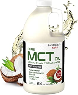 Keto MCT Oil 64 oz | Huge Size & Unflavored| Blends with Coffee, Tea, and Juice Drinks | 100% Pure | Vegetarian & Non-GMO ...